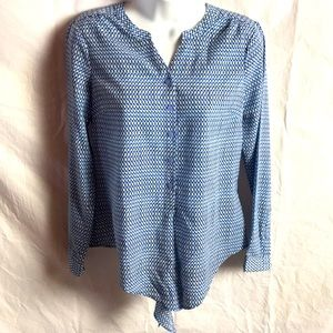 Talbots Petite Long Sleeve Tie Front Button Blouse